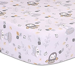 Little Haven Woodland Friends Fitted Crib Sheet in Grey
