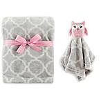 Hudson Baby® Owl Plush Security Blanket Set in Pink