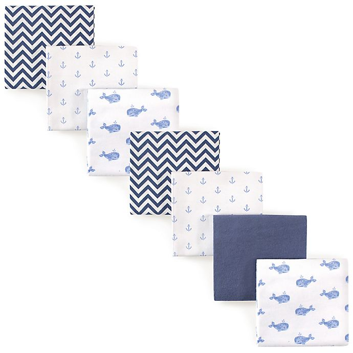 Alternate image 1 for Hudson Baby® Whale Flannel 4-Pack Receiving Blankets in Blue
