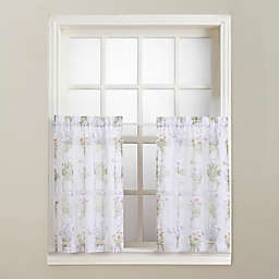 No.918® Eve's Garden Rod Pocket Kitchen Window Tier Pair in White