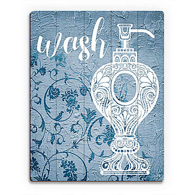 Astra Art Wash Navy Floral  Wood Wall Art