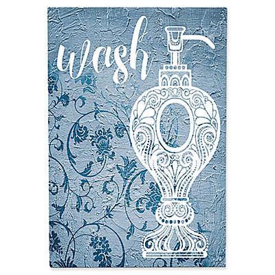 Astra Art Wash Navy Floral Metal Wall Art