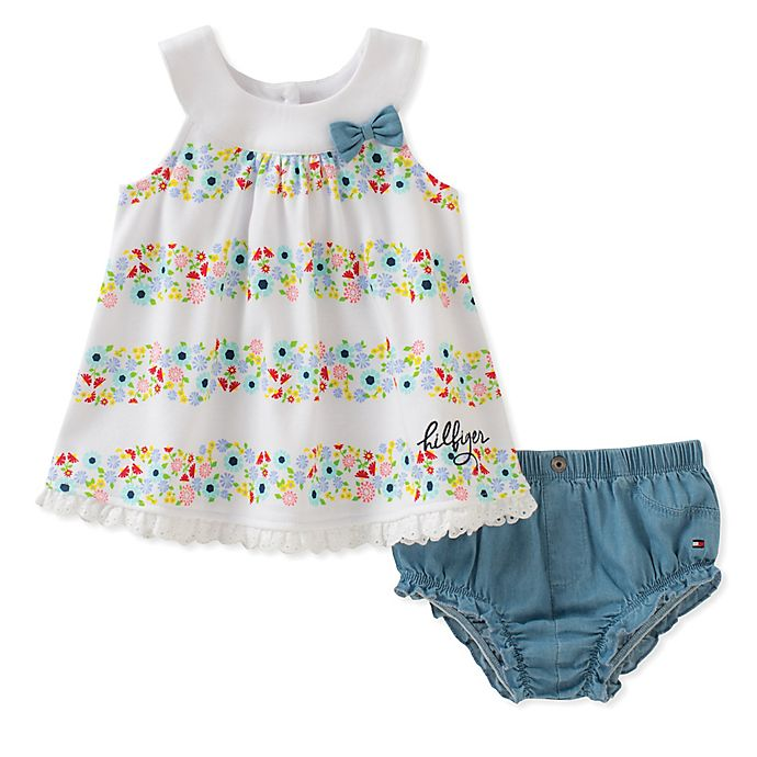 Tommy Hilfiger® 2-Piece Floral Top and Denim Diaper Cover ...