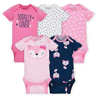Gerber® ONESIES® Brand Fox 5-Pack Bodysuits in Pink