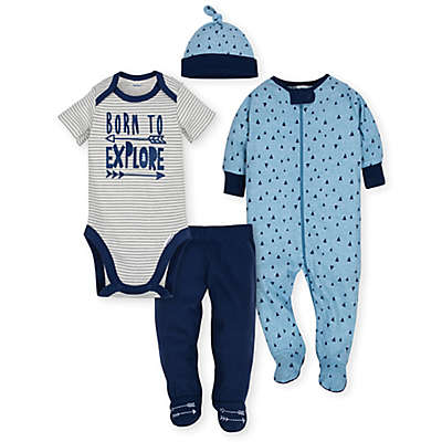 Gerber® 4-Piece Explore Bodysuit, Footie, Pant, and Hat Take Me Home Set in Blue