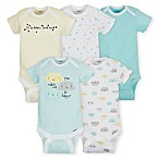 Gerber® Newborn 5-Pack Clouds Short Sleeve Bodysuits in Teal/Yellow