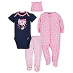 Gerber® Size 3-6M 4-Piece Fox Take Me Home Set in Pink