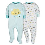 Gerber® Newborn 2-Piece Clouds Sleep N' Play Footies in Teal/Yellow
