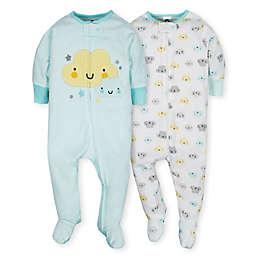 Gerber® Newborn 2-Piece Clouds Sleep N' Play Footies in Teal/Yellow