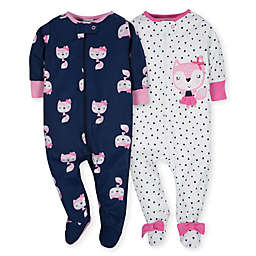 Gerber® 2-Pack Fox Footies in Pink/Navy