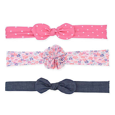 carter's® 3-Pack Headbands in Pink Dot/Floral/Chambray