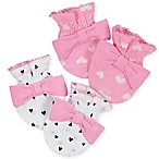 Gerber® Size 0-3M 2-Pack Heart Mittens in White/Pink