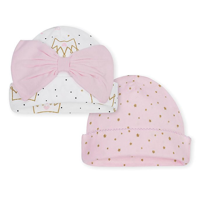 Alternate image 1 for Gerber® Size 0-6M 2-Pack Princess Caps in Pink/Gold