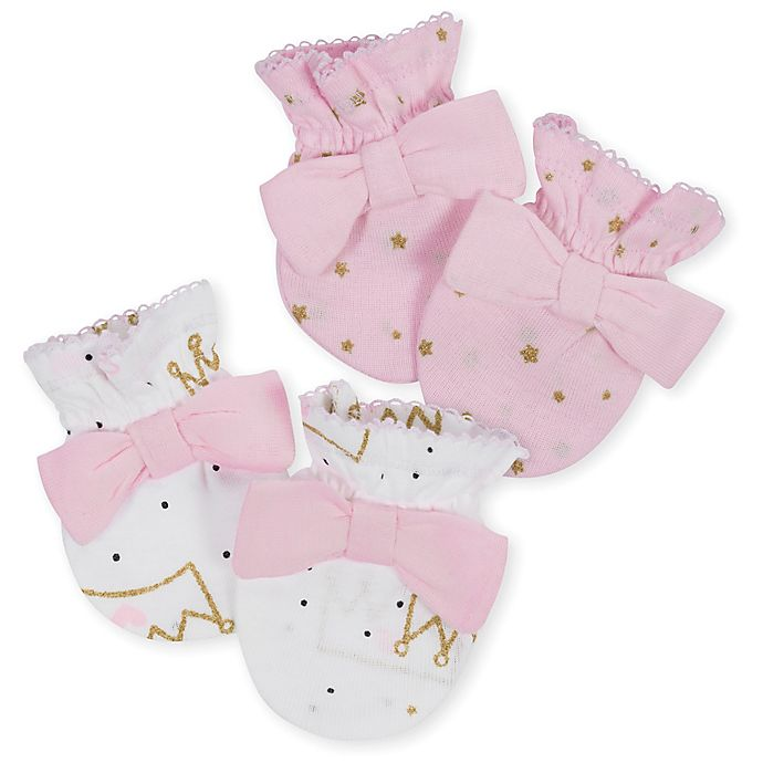 Alternate image 1 for Gerber® Size 0-3M 2-Pack Princess Mittens in Pink/Gold