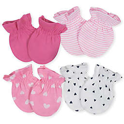 Gerber® Size 0-3M 4-Pack Hearts Mittens in Pink