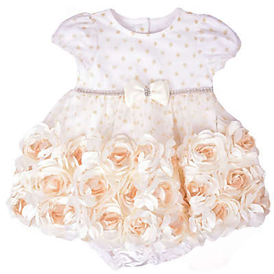 Nannette Baby® 2-Piece Roses Dress and Diaper Cover Set in Ivory