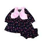 Nanette Baby® Size 6-9M 2-Piece Floral Dress and Panty Set in Navy