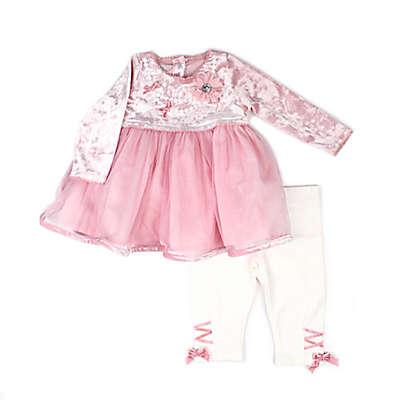 Nanette Baby® 2-Piece Velvet Dress and Legging Set in Blush