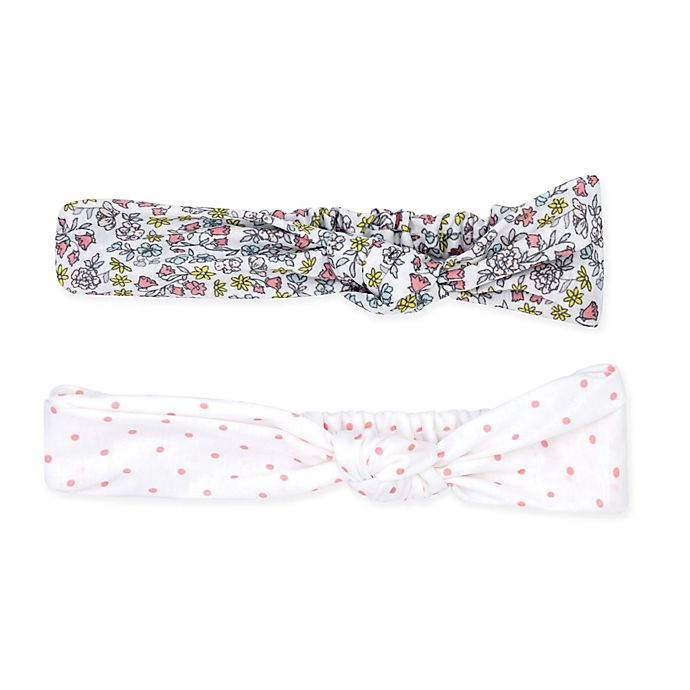 Alternate image 1 for carter's® Size 0-6M 2-Pack Floral and Polka Dot Turban Knot Headwraps