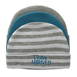 "So' Dorable Size 0-6M 3-Pack ""I Have Arrived"" Knit Beanies in Blue/White/Grey"