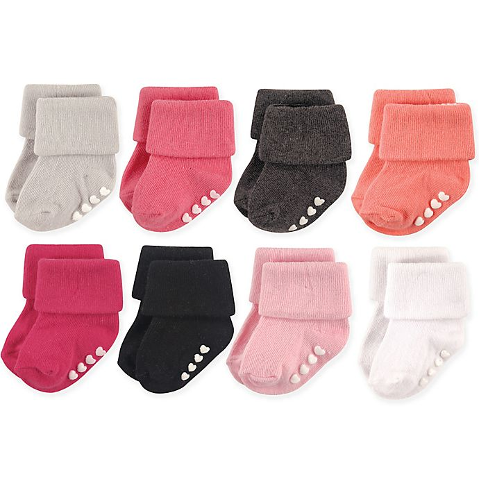 Alternate image 1 for Hudson Baby® Size 0-6M 8-Pack Non-Skid Cuff Socks in Pink/Black