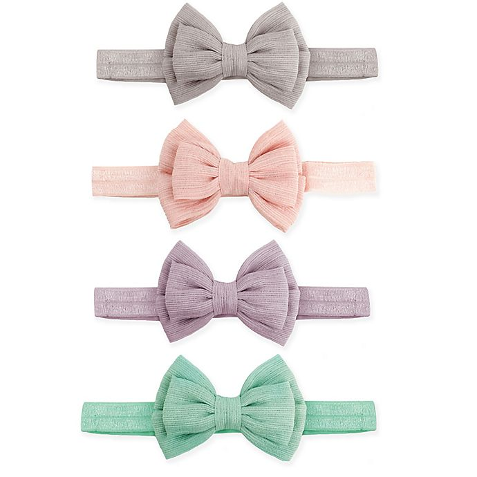 Alternate image 1 for Tiny Treasures 4-Pack Double Bow Headbands