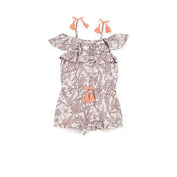 Jessica Simpson Floral Romper with Tassels in White/Grey