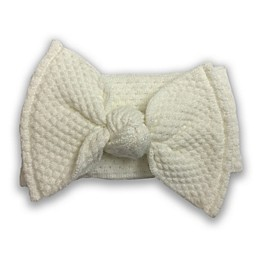 NYGB™ Quilt Stitch Large Bow Headband in Ivory
