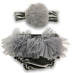 Toby™ 2-Piece Diaper Cover & Headband Set in Grey/Ivory