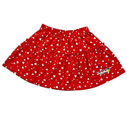 EZ-On BaBeez™ White Heart Ruffled Skirt in Red