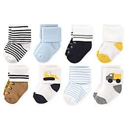 Luvable Friends™ 8-Pack Bulldozer Socks in Yellow/White