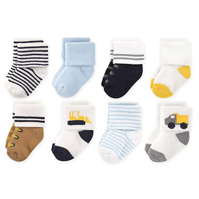 Alternate image 1 for Luvable Friends™ Size 0-6M 8-Pack Bulldozer Socks in Yellow/White