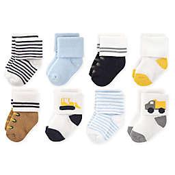Luvable Friends™ 8-Pack Bulldozer Socks in Yellow/White