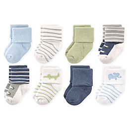 Luvable Friends™ 8-Pack Safari Socks in Blue/White