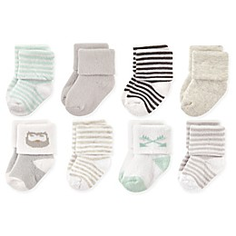 Luvable Friends® 8-Pack Owl Terry Socks in Mint/Grey