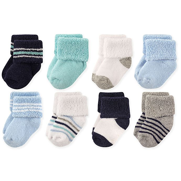 Alternate image 1 for Luvable Friends® Size 0-6M 8-Pack Terry Socks in Mint/Navy Stripes