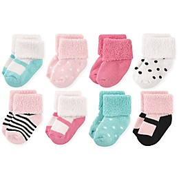 Luvable Friends® 8-Pack Mary Jane Terry Socks in Mint/Pink