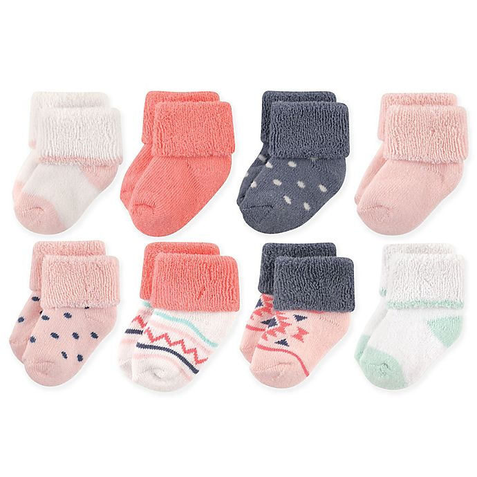 Alternate image 1 for Luvable Friends® 8-Pack Aztec Terry Socks in Pink