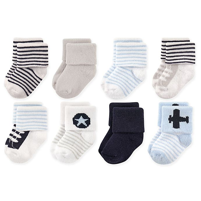Alternate image 1 for Luvable Friends® 8-Pack Airplane Terry Socks in Blue/White