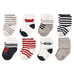Luvable Friends® 8-Pack Nautical Terry Socks in Blue/Grey