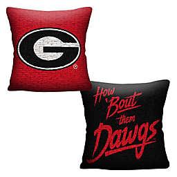 University of Georgia Jacquard Square Throw Pillow