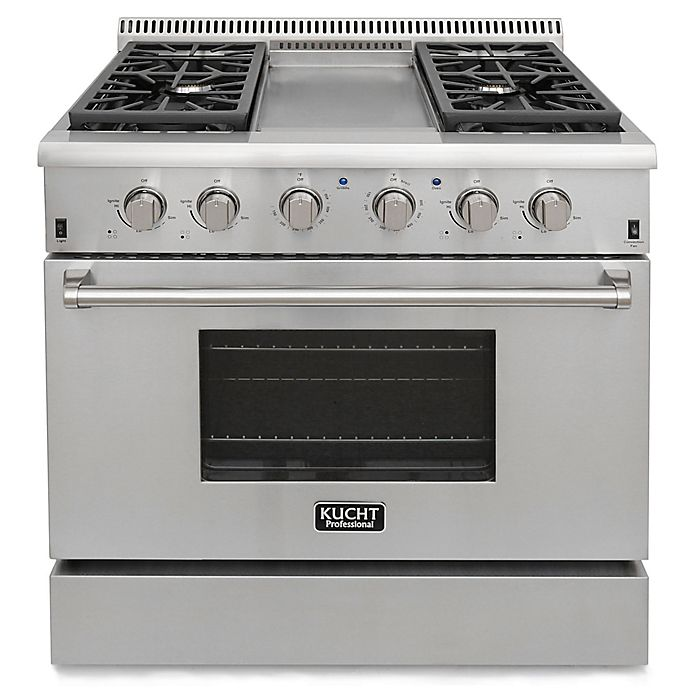 Kucht Pro Style 36 Inch 5 2 Cu Ft Gas Range With Griddle In Stainless Steel
