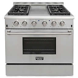 Kucht Pro-Style 36-Inch 5.2 cu. ft. Propane Gas Range with Griddle in Stainless Steel
