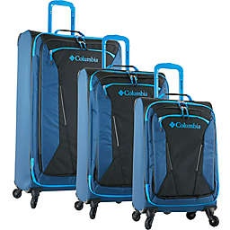 Columbia Kiger 3-Piece Expandable Softside Spinner Luggage Set in Blue/Black