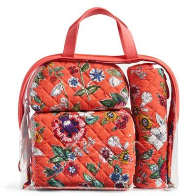 Vera Bradley 174 4 Piece Travel Cosmetic Set In Coral Floral