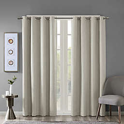SunSmart Maya 95-Inch Heathered Grommet-Top Room Darkening Window Curtain Panel in Taupe