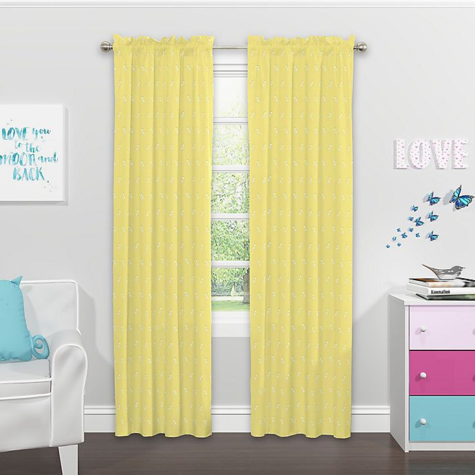 Alternate image 1 for SolarShield Kids Giraffe Daze 84-Inch Rod Pocket Room Darkening Window Curtain Panel Yellow