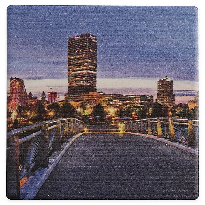 Alternate image 1 for Thirstystone® Dolomite Milwaukee Skyline Single Square Coaster