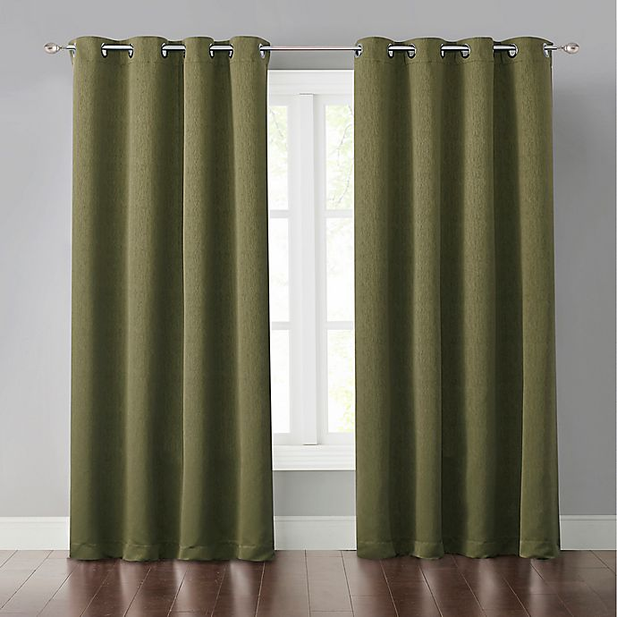 Alternate image 1 for Malta 84-Inch Grommet Light-Blocking Window Curtain Panel in Green