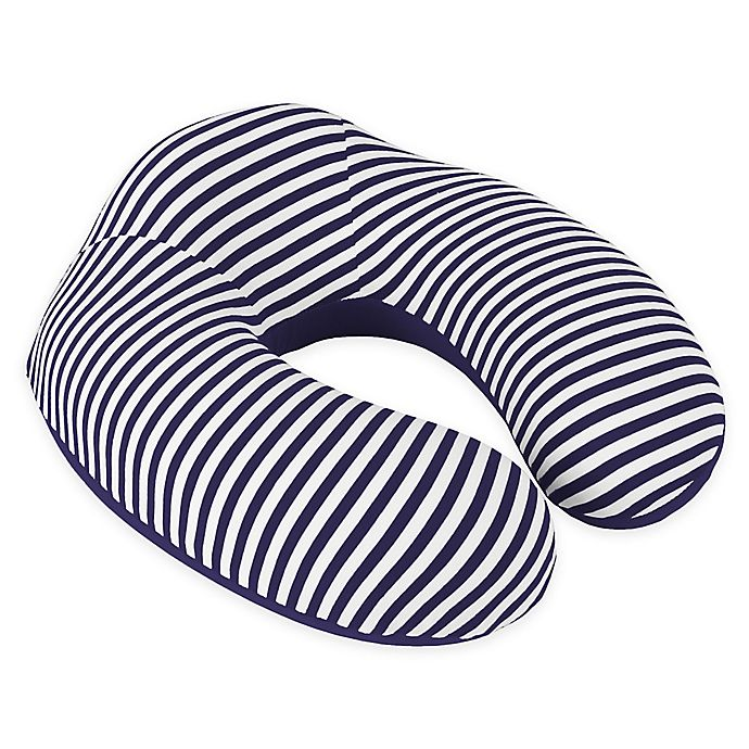 Alternate image 1 for Nottingham Home Striped Memory Foam Travel Pillow in Navy/White